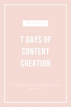 7 Days Of Content Creation Instagram Tips, Instagram Feed, Social Media Tips, Social Media Marketing, Instagram Influencer, Getting To Know You, Virtual Assistant, Photography Business, Pinterest Marketing