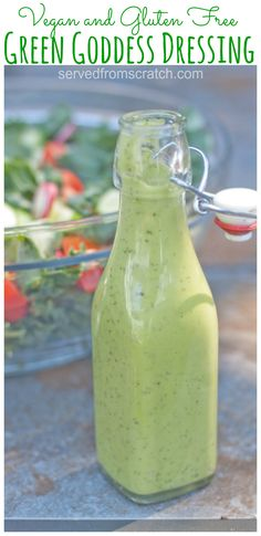 Nov 2019 - This Vegan Green Goddess Dressing is creamy, dreamy, and the perfect mayo free, avocado based dressing for your favorite salad! Green Goddess Salad Dressing, Vegan Green Goddess Dressing Recipe, Al Fresco Dinner, Salad Dressing Recipes, Vegan Salad Dressings, Mayo Salad Dressing, Vegan Avocado Dressing, Salad Recipes, Trader Joes