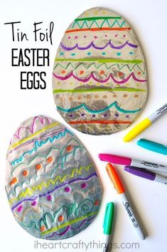 This tin foil Easter egg art is vibrant and colorful and it's great for children to let their creativity shine by creating a unique design on their egg. It makes a great Easter kids craft for toddlers, preschoolers and kids of all ages. #artsandcraftsfortoddlers,