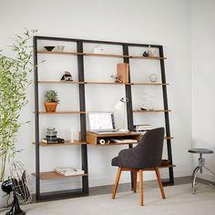 Ladder Shelf Desk + Wide Bookshelf Set