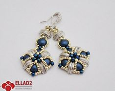 Tutorial Tara Earrings - Beading tutorial, Instant download,Ellad2