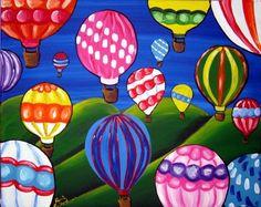 Hot Air Balloons Colorful Fun Whimsical Folk by reniebritenbucher