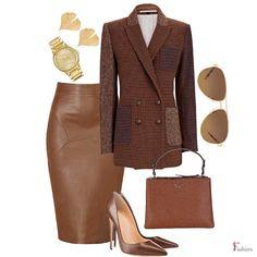 Work Fashion, Fashion Tips, Checked Blazer, Blazer Outfits, Polyvore Fashion, Leather Skirt, Midi Skirt, Autumn Fashion, Shopping