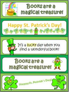 FREE set of 5 bookmarks for St. Patrick's Day. Reward their reading!