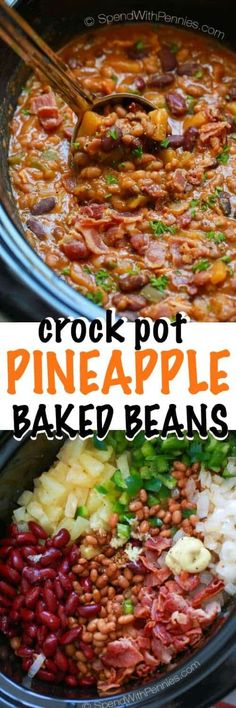 Pineapple Crock Pot Baked Beans make for a one of a kind delicious side dish for your next BBQ or potluck. The recipe comes together in a flash and it is likely to disappear quickly as your friends and family will absolutely need a second helping!