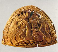 Hittite , half oval plaque, twı goats and palmetto tree, Tell-Halaf, 900 BC, Museum of Oriental Antiquities, İstanbul