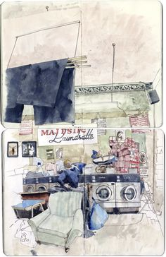 watercolor - art journal inspiration -- How to use space and perspective. Watercolor Journal, Watercolor Paintings, Watercolour, Painting Art, Moleskine, Artist Sketchbook, Sketchbook Project, Sketchbook Inspiration, Urban Sketching