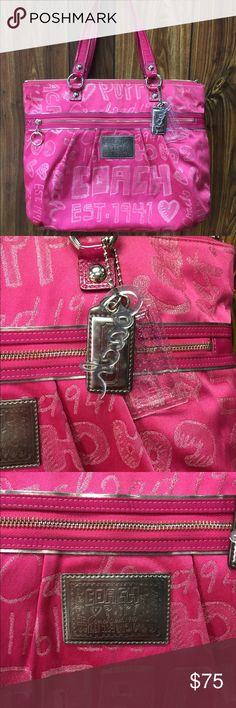 Coach Poppy Purse Coach Poppy Hot Pink Purse! In good pre-owned condition. There is some straining on the lining of the bag as well and on the outside of the bag (tried taking the best pictures I could) I'm sure if brought to a dry cleaners they would be able to get them out. Leather is in great condition! Purse comes with original dust cover Coach Bags Shoulder Bags