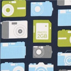 £6.97 navy blue photo camera fabric by Robert Kaufman (per 0.5m multiple)