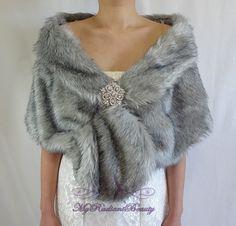 Faux Fur Stole Bridal Faux Fur Wrap Grey by MyRadiantBeauty