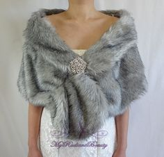 Faux Fur Stole Bridal Faux Fur Wrap Grey by MyRadiantBeauty