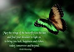 May the wings of the butterfly kiss the sun  and find your shoulder to light on,  to bring you luck, happiness and riches,  today, tomorrow and beyond.  -Irish blessing