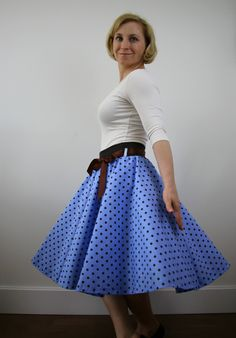 A personal favourite from my Etsy shop https://www.etsy.com/listing/498550294/blue-polka-dot-skirt-circle-skirt-women