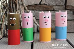 These easy DIY Toilet Paper Tube Puppets use items from a basic craft stash, so you should be able to get started right away. Toilet Tube, Toilet Roll Craft, Paper Towel Roll Crafts, Towel Crafts, Plate Crafts, Pig Crafts, Preschool Crafts, Easy Crafts For Kids, Art For Kids