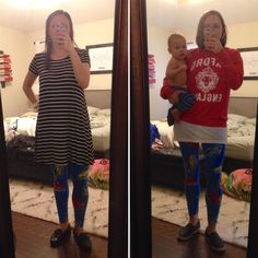 LuLaRoe Outfit - Left: black and white striped tunic, #lularoe car print leggings, black driving moccasins Right: white tunic tee, red sweatshirt, car print #lularoe leggings, black slip ons, optional 9 month old baby