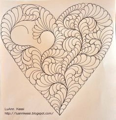 LuAnn Kessi Heart Feather FMQ Step by step tutorial
