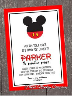 Mickey Mouse Birthday Invitation by PaperMonkeyCompany on Etsy, $1.00