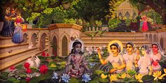 Jala Keli On Radha Kunda Painting by Vrindavan Das from Vrindavan, India