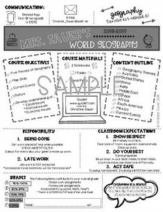 Editable Syllabus Template UPDATED 2020-2021 by Christine Sauer | TpT Syllabus Template, Insert Text, Meet The Teacher, World Geography, 6 Years, Outline, Back To School, Clip Art, Student
