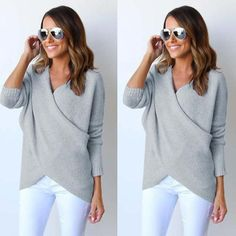 Buy Grey Irregular V-neck Long Sleeve Fashion Cotton Pullover Sweater online with cheap prices and discover fashion Sweaters,Pullovers,Sweaters & Cardigans,Sweaters,Women Sweaters,Cheap Sweaters,Fashion Sweaters,Sweater,Popular Sweaters,Women Sweater at Loverchic.com.