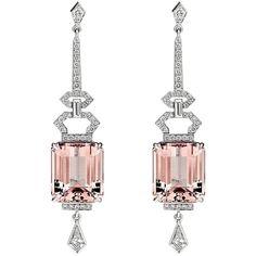 15.09ct Morganite and Diamonds Art Deco Earrings