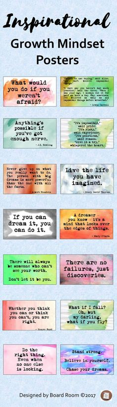 Quotes to provide inspiration to stimulate a growth mindset, motivate and inspire your students and can also be used as writing prompts throughout the year. #growthmindset