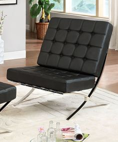This Black Malani Leatherette Accent Chair is perfect! #zulilyfinds