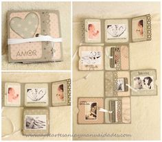 Arte, Artesania y Manualidades: Mini álbum fold scrapbooking 'Sweet Baby'                                                                                                                                                                                 Más