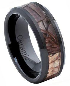 8mm Ceramic Ring Men Women Wedding Band w Forest Floor Foliage Camo Inlay