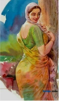 Indian Women Painting, Indian Art Paintings, Sexy Painting, Woman Painting, Indian Art Gallery, Romance Art, Magazine Illustration, Cartoon Girl Drawing, Beautiful Fantasy Art