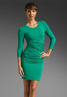 Tracy Reese Solid Jersey Ruched Dress with Contrast in Juniper