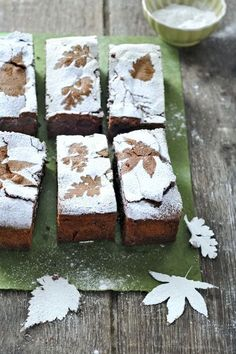 Powdery sugar-stenciled brownies in leaf patterns for fall