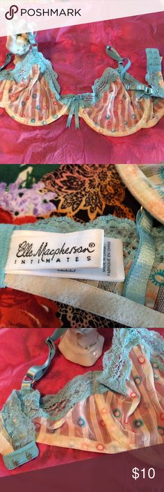 Elle Macpherson Intimates Size 36 D Sublime - In excellent PreLoved condition- Sheer  Sexy & playful stripe creme with robins egg blue lace- double hook. Nice way to try this designer brand. Underwire Elle Macpherson  Intimates & Sleepwear Bras