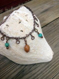forager - anklet - turquoise - nut - antiqued copper chain