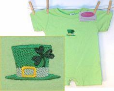 Lucky Leprechaun Hat & Shamrock Baby Onesie by RK's Embroidery Boutique!