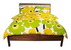 Marimekko Unikko Modern Floral Yellow/Lime Duvet Cover Set- Full 100% Cotton #Marimekko #Modern