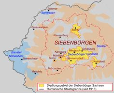 A brief article focusing on the Transylvanian Saxon dialect, a dialect of the German language spoken in Transylvania, Romania. Volga Germans, Romania Map, Visual Map, Old World Maps, Austro Hungarian, Family Roots, Historical Maps, Planer, Statistics