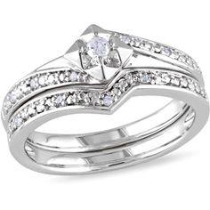 Miabella 1/10 Carat T.W. Round Diamond Sterling Silver Contoured Bridal Set