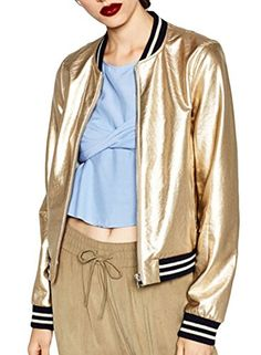 The jacket is featuring color block striped print, long sleeve, band  collar, loose fit. ACHICGIRL Women's Color Block Striped Metallic Bomber ...
