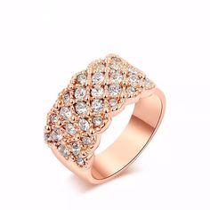 anel feminino banhado ouro rose 18k cristais swarovski lindo