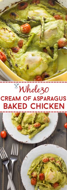 This whole30 meal is so simple and the perfect blend of hearty and healthy. If you love creamy asparagus, you'll love this! Low carb and packed with veggies