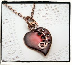 Sweet Red Enamel Glass Heart Pendant with Woven Copper Bail Very clever wire cold connection.