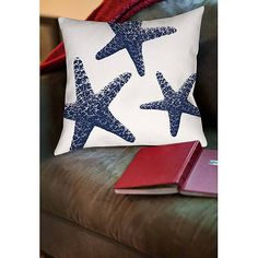 Thumbprintz Nautical Nonsense Blue White Starfish Indoor Pillow