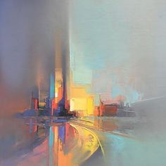 Pixelated Palette Knife Paintings Capture Energetic Cityscapes in Hazy Hues - Abstract Landscape Paintings Capture Ener Abstract Landscape Painting, Abstract Canvas, Oil Painting On Canvas, Landscape Paintings, Abstract Paintings, Art Paintings, Canvas Art, Abstract City, Beach Canvas