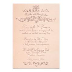 Simple Luxury Coral Wedding Invitations