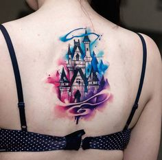 Disney Castle Sketch & Watercolor on Girls Back | Best tattoo ideas &…