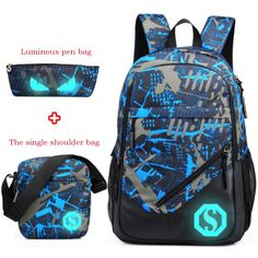Waterproof oxford fabric boys school bags backpack for teenagers pencil  case blue book bag boy one shoulder schoolbag backpack 66fb3d6d33b01