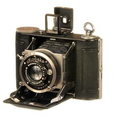 """Kodak Vollenda Type 48  Circa 1932  The #Vollenda Type 48 is an August Nagel design predating his popular and enduring #Kodak #Retina cameras released in 1934.  Kodak bought Nagel Camera Werks in 1931, which he had formed after leaving Zeiss.    The camera is extremely compact at 3"""" x 4"""" and when closed is only 1 ¼"""" thick.    It produces a portrait oriented image on type 127 film.   See more vintage cameras at: http://web4homes.com/cameras"""
