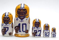 5 piece matryoshka doll set, featuring different famous LSU Tigers football team players. This set is made by hand in Russia. It is made of linden wood and then painted by a professional matryoshka do