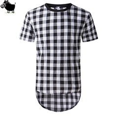 Man Si Tun Men Fashion Brand Clothing Summer Blusas Mens Plaid Shirt Sides Zipper Casual O-Neck Cool Short Sleeve Hip Hop Shirts #Affiliate